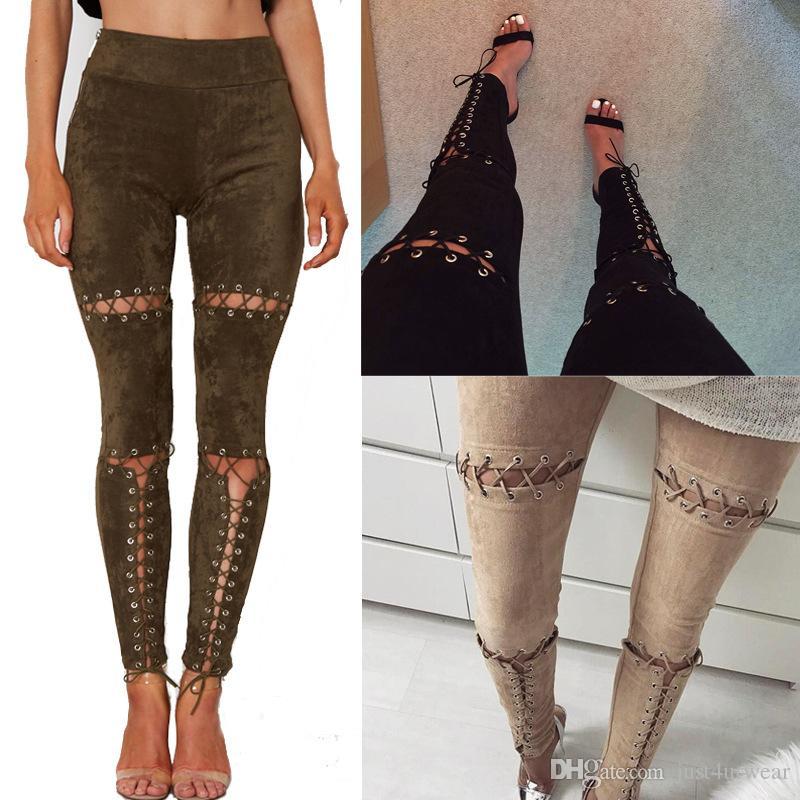 Ropa para mujer Pantalones largos Mujer de gamuza ahueca hacia fuera el diseño del vendaje Pantalones delgados Mujeres Lápiz delgado y sexy Pantalones