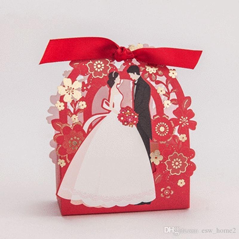 Contenitore di regalo romantico di nozze Regalo rosso elegante di ospite del fiore Sposo del laser della sposa del taglio della sposa Contenitore di caramella di favori