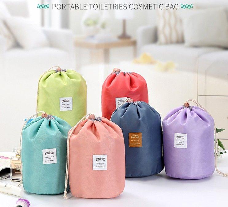 الأزياء برميل على شكل السفر حقيبة مستحضرات التجميل المكياج حقيبة الرباط الأنيق الطبل غسل عدة حقائب ماكياج منظم حقيبة التخزين الجمال