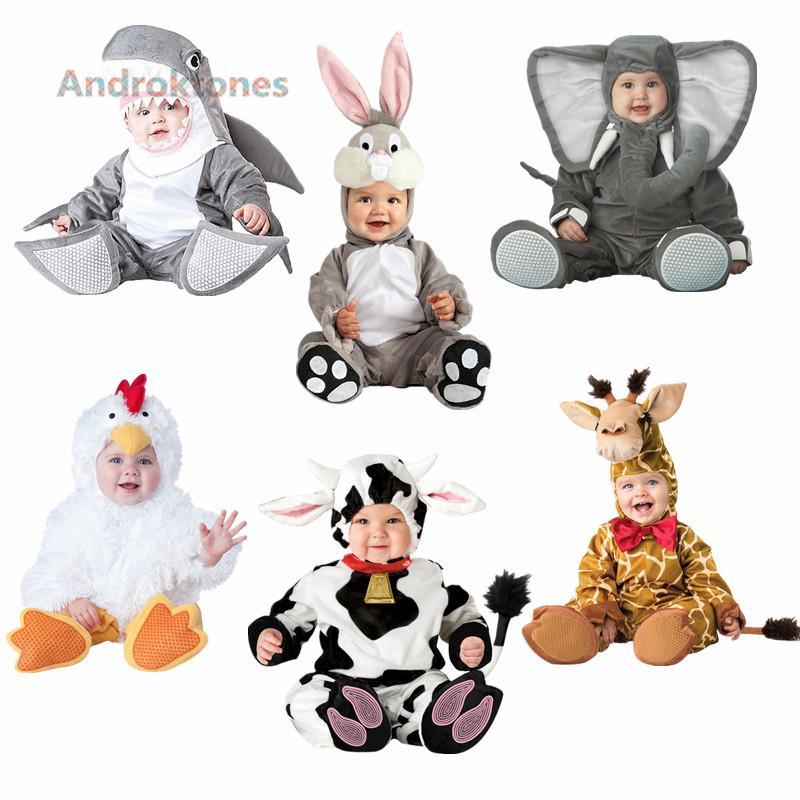 Androktones 2018 Children Jumpsuits Elephant Onesie Kids Girls Boys Warm Soft Animal Cosplay Pajamas Halloween Costumes for kids