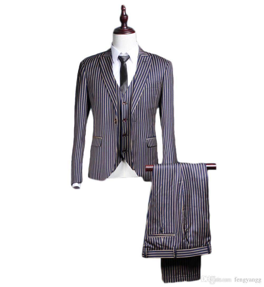 Vertical Stripe One Button Peaked Collar Handsome Men Suits Trim Fit Suits for Dinner Party Tuxedos