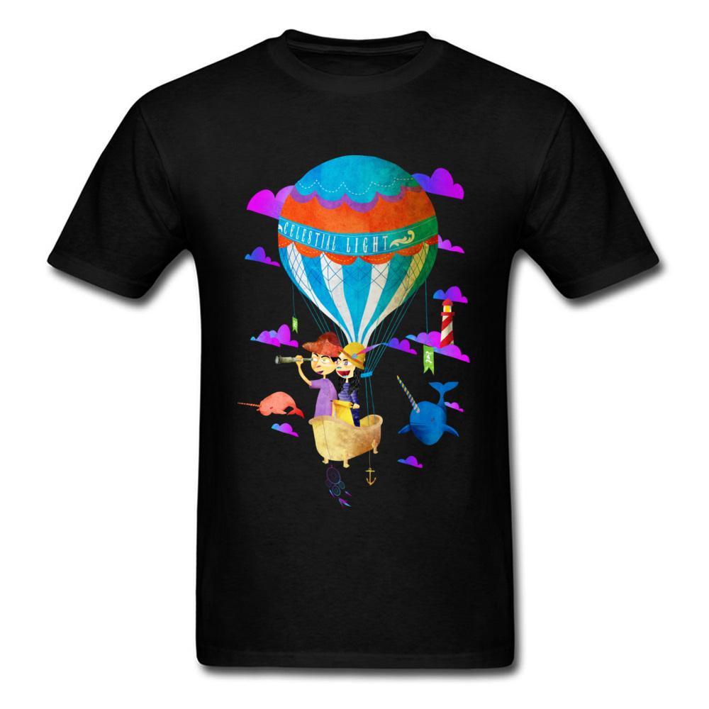 2018 Göksel Işık T-Shirt Tasarım Mans Parti Tee Gömlek Satış Karikatür Sıcak Hava Balon Baskı Siyah Kısa Kollu Giyim
