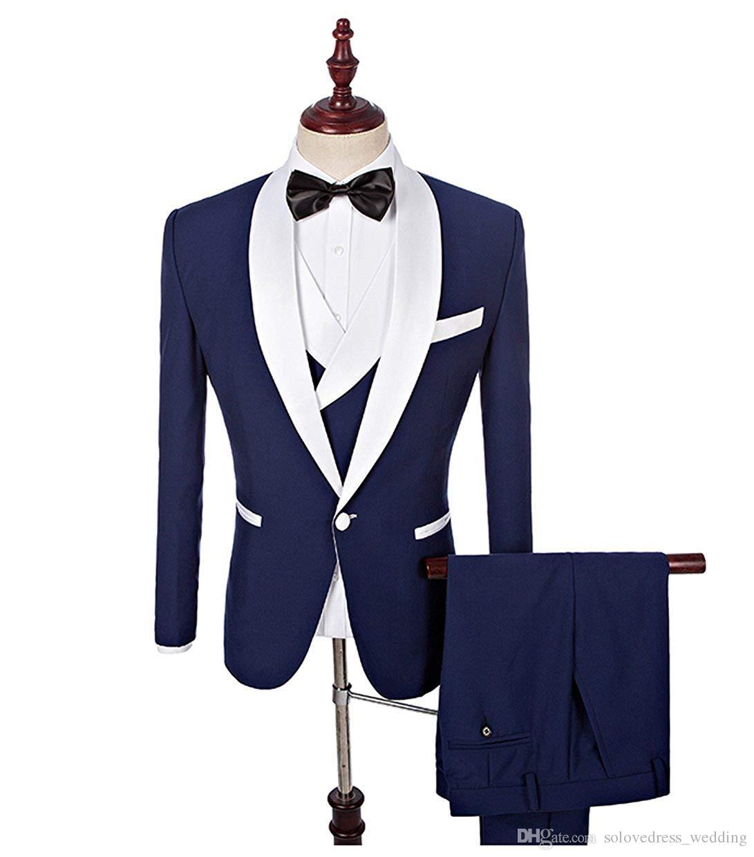 3 أجزاء بدلة رجالي الأزرق البدلات الرسمية الأبيض شال التلبيب الرجال الدعاوى مع السراويل الزفاف الشركة البدلة السترة الرجال العريس (سترة + سروال + سترة)