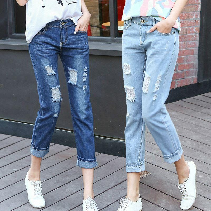 Jeans women hole shorts casual loose straight pants ninth length across the pants light cotton women's pants Korean tide LQ0080
