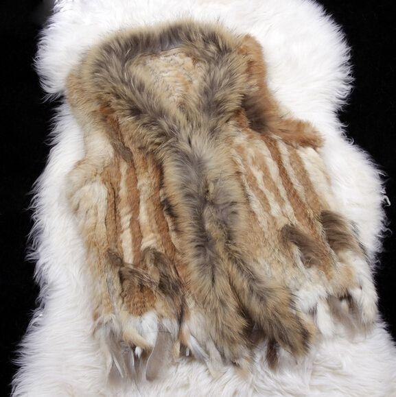 Harppihop Ladies Genuine Knitted  Fur Vest Raccoon Fur Trimming Tassels Women Natural Waistcoat Lady Gilet colete pel