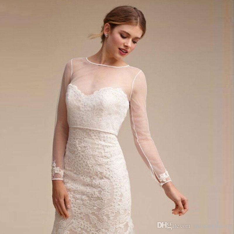 Elegante Design Full Sleeves Bridal Jacken mit Knöpfen Zurück 2018 Transparente Hochzeit Bolero Kostenloser Maß