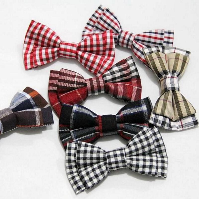 Melhor crianças gravata borboleta de algodão pino de segurança xadrez miúdo animal de estimação cão borboleta verifica 9 * 5 cm Bowknot decorado 5 pcs / lote