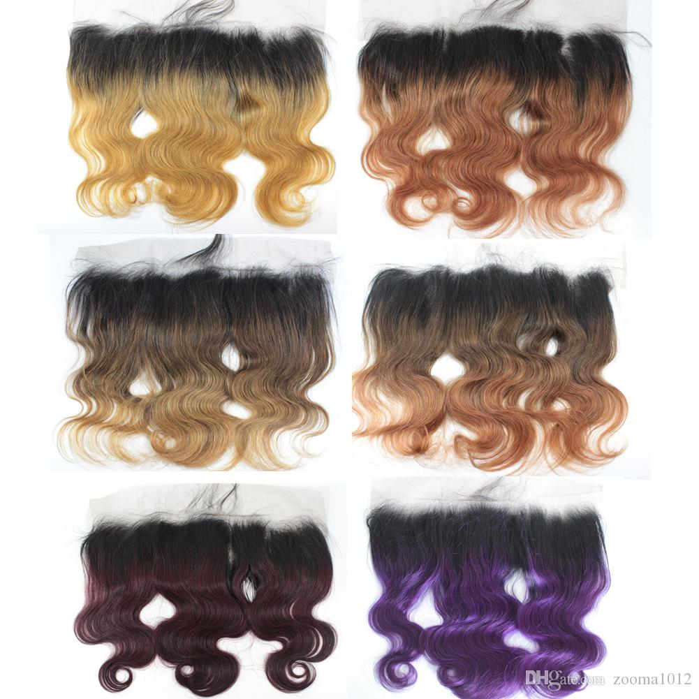 Brazilian Virgin Body Wave Ear to Ear Lace Frontal Closure 1B Blonde Brown 13X4 Lace Frontal Cheap Ombre Human Hair 4*4 Lace Closure