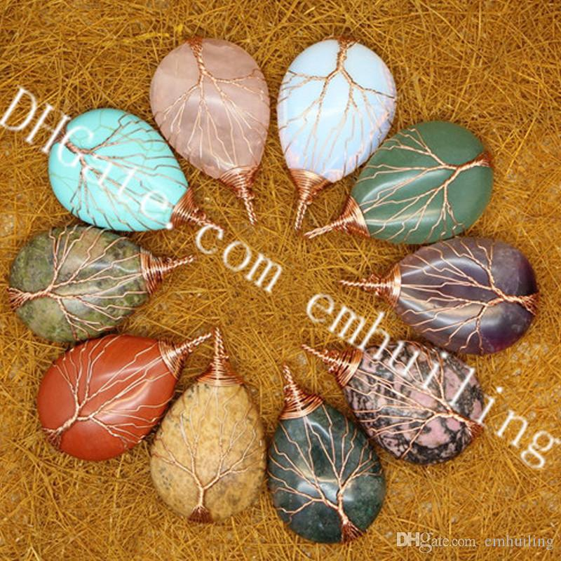 10Pcs Sale Handmade Copper Wire Wrapped Tree of Life Natural Gemstone Moss Agate Turquoise Rhodonite Unakite Picture Jasper Teardrop Pendant