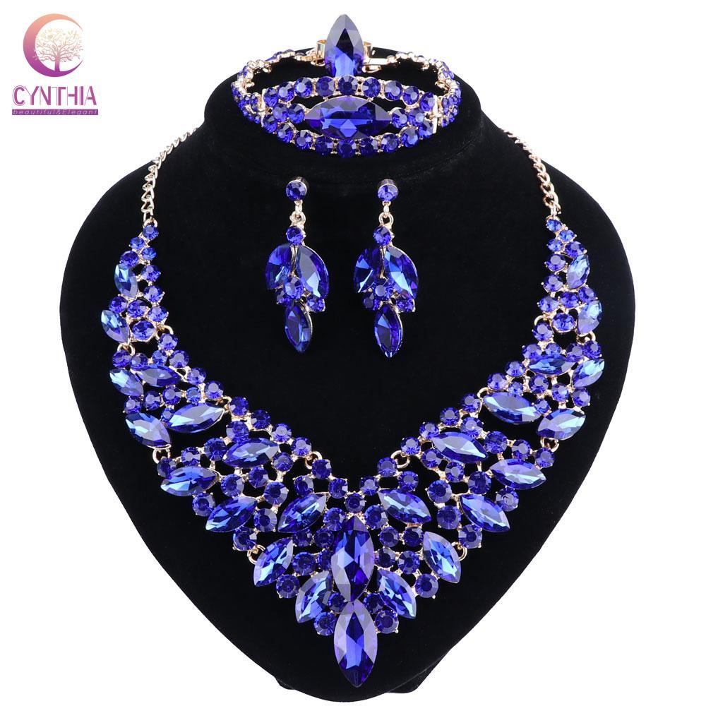 Pendientes del collar cristalino azul del Rhinestone del color del oro de la pulsera del anillo de joyería fija mujeres novia de la boda