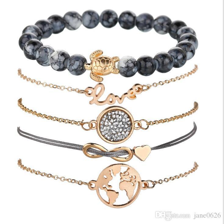 Gioielli Womens Carino il braccialetto di fascino 5 PCS semplice braccialetto per le ragazze di tessitura 8 lettera perline mappa del mondo di tartarughe Bracciale