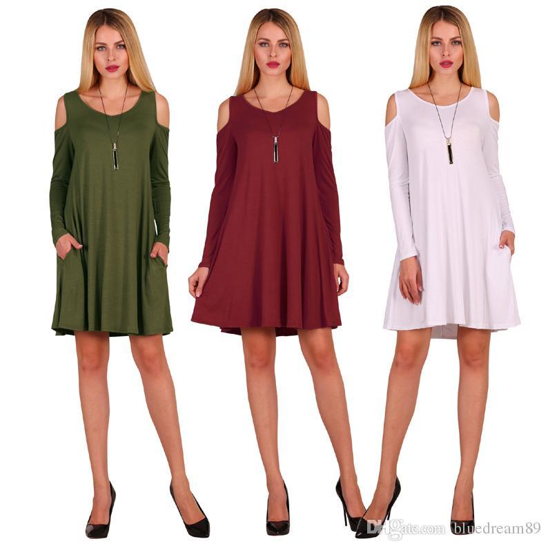 Autumn Cotton women dresses leaking shoulder designer long sleeve plus size women clothing pocket loose casual night club dresses