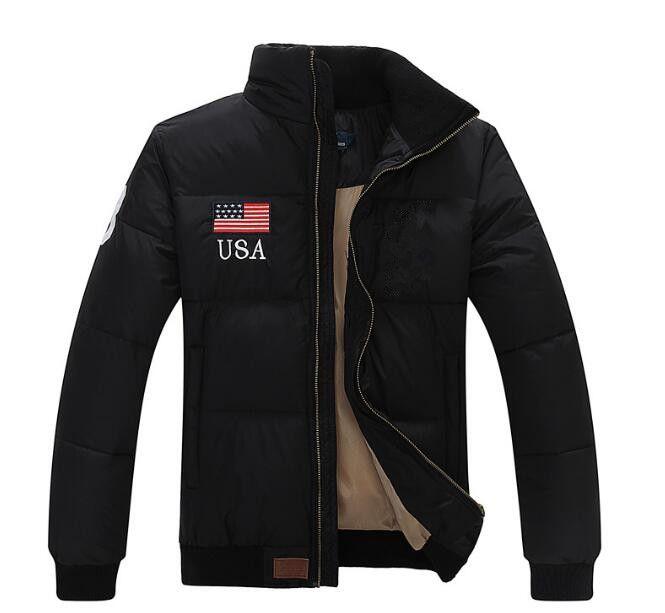 Yaka Sıcak Bayrak Ünlü erkekler Pony Aşağı ceket Moda Aplikler Fermuar Dış Giyim fazla renk spor pamuk At Parkas mont ceket Standı