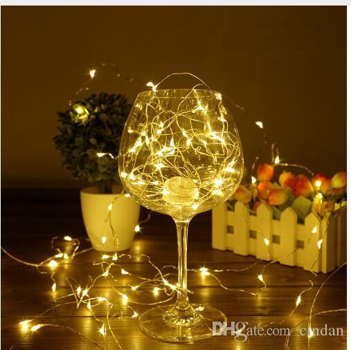 1 / 2 / 5 / 10M 10 ~ 100 LED가 크리스마스 화환 구리 와이어 LED 문자열 램프 요정 실내 새해 크리스마스 결혼식 장식을 위해 점등