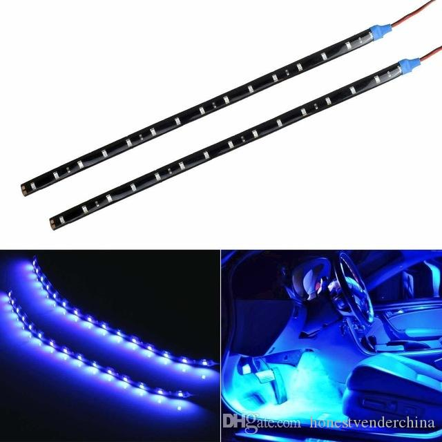 6PC Car Strip Light 15 LED Motorcycle Flexible Bar 30CM 3528 SMD Under Tube Underglow Underbody Boat Atmosphere Decorative Lamp