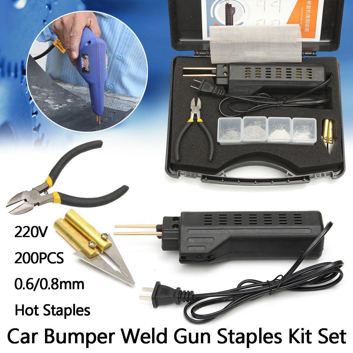 Repair Professional Hot cucitrice di plastica sistema di saldatura pistola paraurti carenatura Auto Body strumento saldatore di plastica + 200 Staples