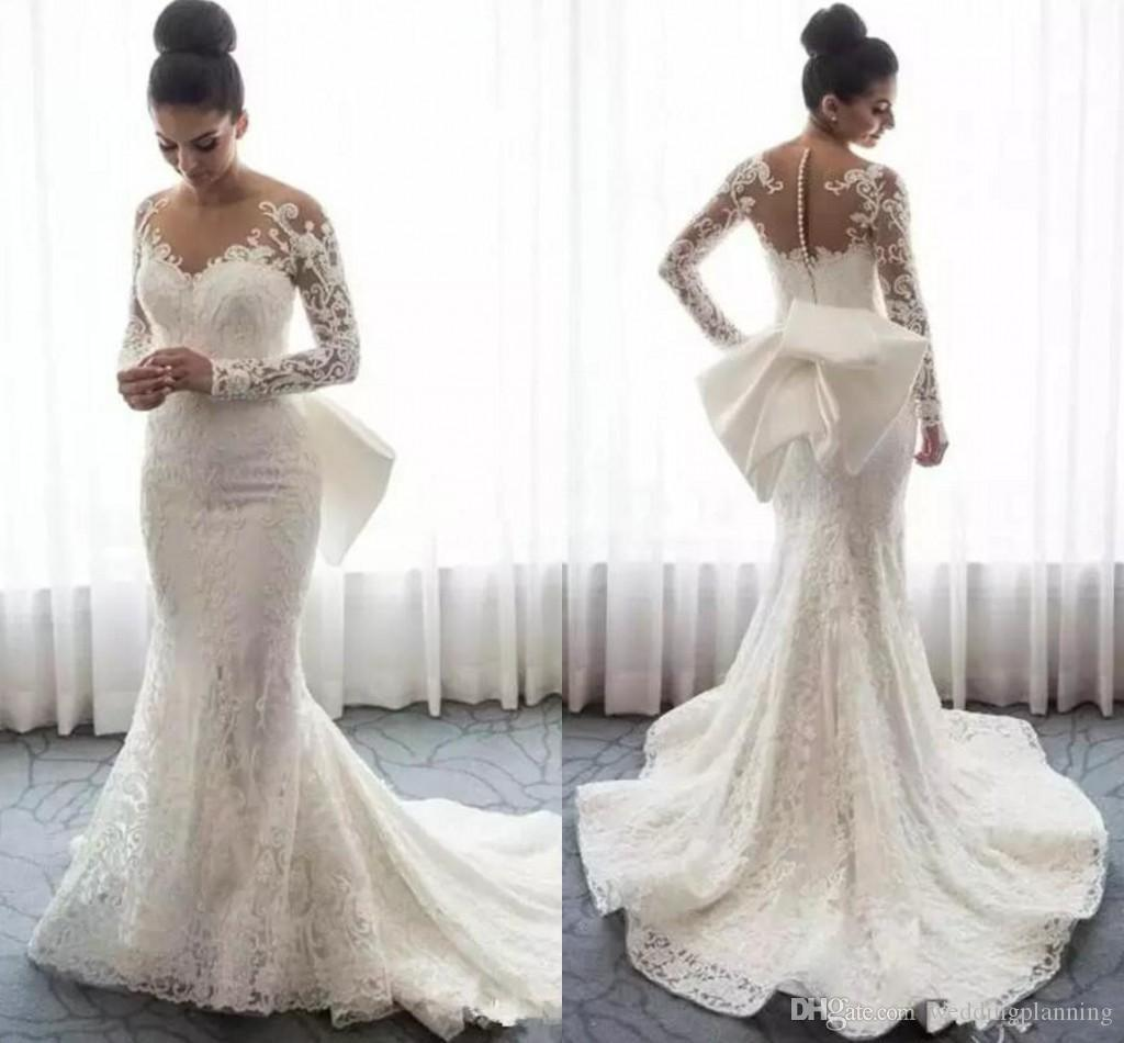 2019 Appliques Lace Long Sleeve Mermaid Wedding Dresses Sheer Neck Saudi Arabic Wedding Gowns With Attachable Train Bridal Dresses