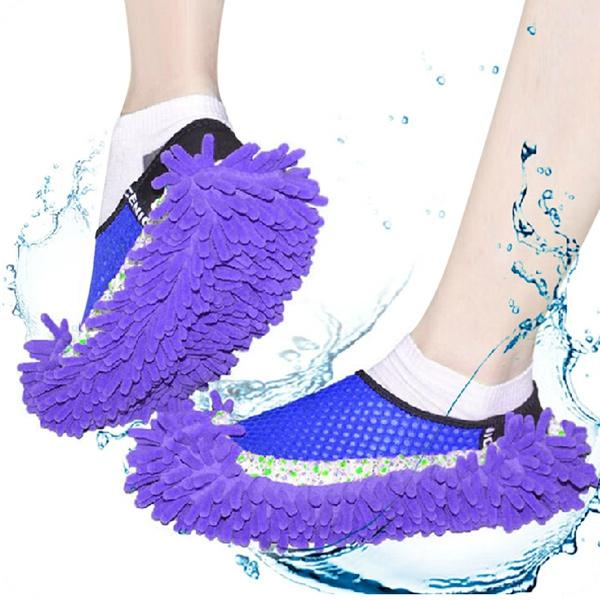 Practical Chenille Mop Slippers Dust Floor Cleaning Mopping Foot Shoes Home Pair Cleaner Mop Slipper Floor Dusting Cover Convenient NB