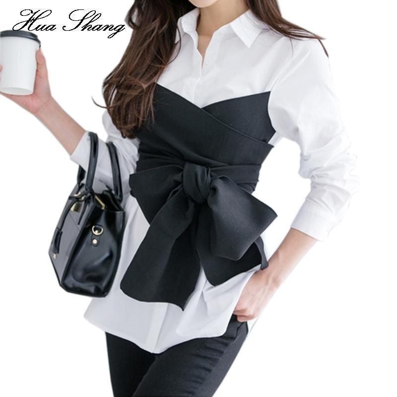 2017 أزياء الصيف الكورية التعادل القميص بلوزة أنثى القوس الأسود كم طويل الأبيض سيدة مكتب زائد الحجم المرأة القمم