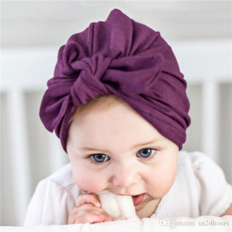 Детские тюрбан шляпа с бантом тюрбаны для малышей младенческой малышей Topknot новорожденных девочек душ подарок эластичный завод Оптовая подарок на День Рождения