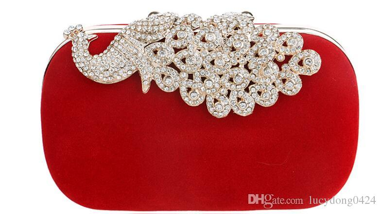 Fashion Europe and the United States Peacock Diamond Dinner Bag 5 colores para mujer Banquet Dress Clutch