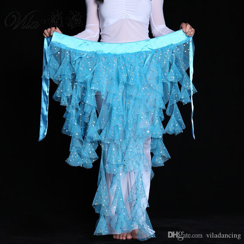 Fashion Bellydance Hip Scarf 7 colors Belt Skirt Waistband Wrap Elegant Egypt Sequins Belly Dance Waist Chain Solid Color