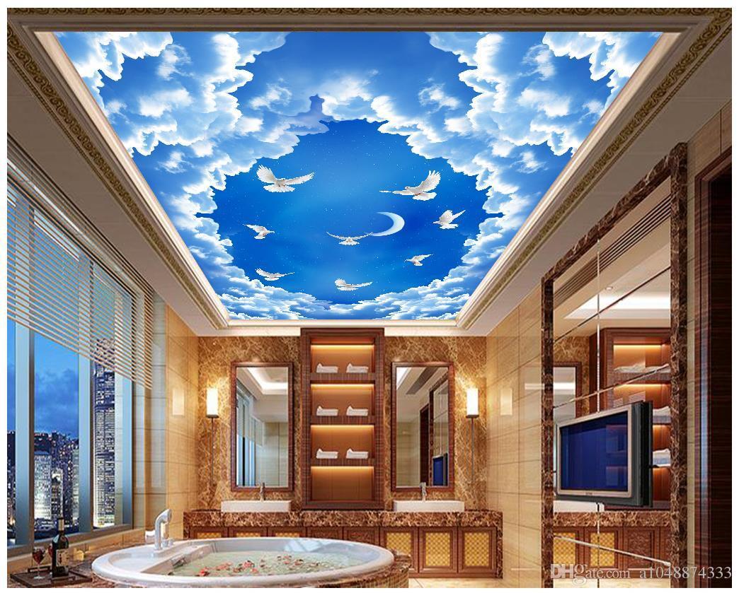 3d Wallpaper Custom Photo Ceiling Mural Wallpaper Sky Clouds