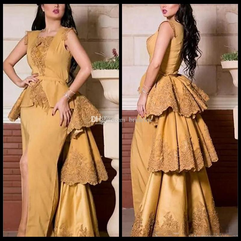 2020 Gold Dress Middle East Saudi Arabia Evening Dresses Lace Appliques Mermaid Fitted Peplum Prom Gowns Robe De Soiree Detachable Train