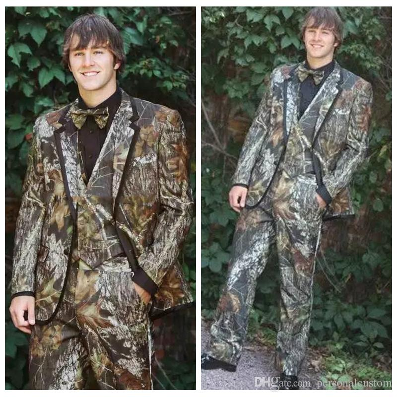 Full Camo Satin Camouflage Tuxedos Unique Camo Mens Wedding Suits ...