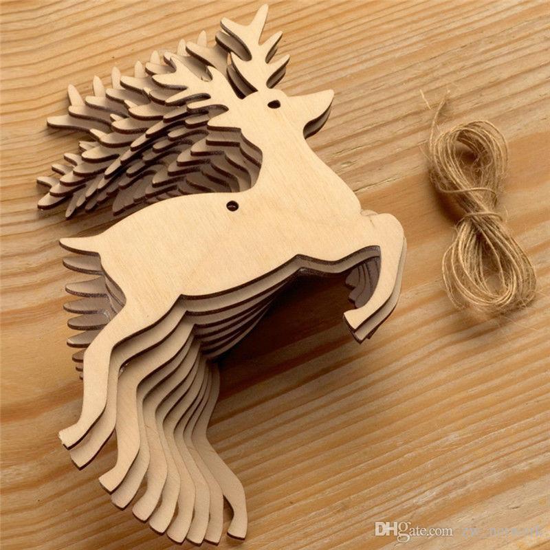 10 unids / bolsa natural de madera ornamento colgante de navidad creativo elk muñeco de nieve árbol de navidad colgando artesanía de madera decoración de navidad con cuerdas de cáñamo