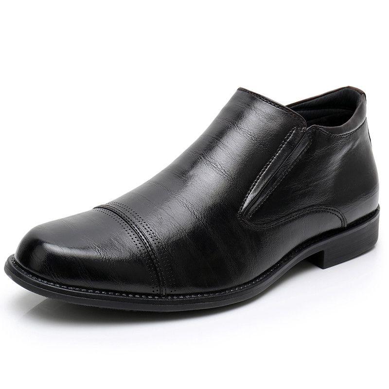 Haute Qualité Hommes En Cuir Bottes D'affaires Hommes Zipper Côté Classique Chaussures Hommes Chaud Botte Fabriqué À La Main Marque Bottes Formelles