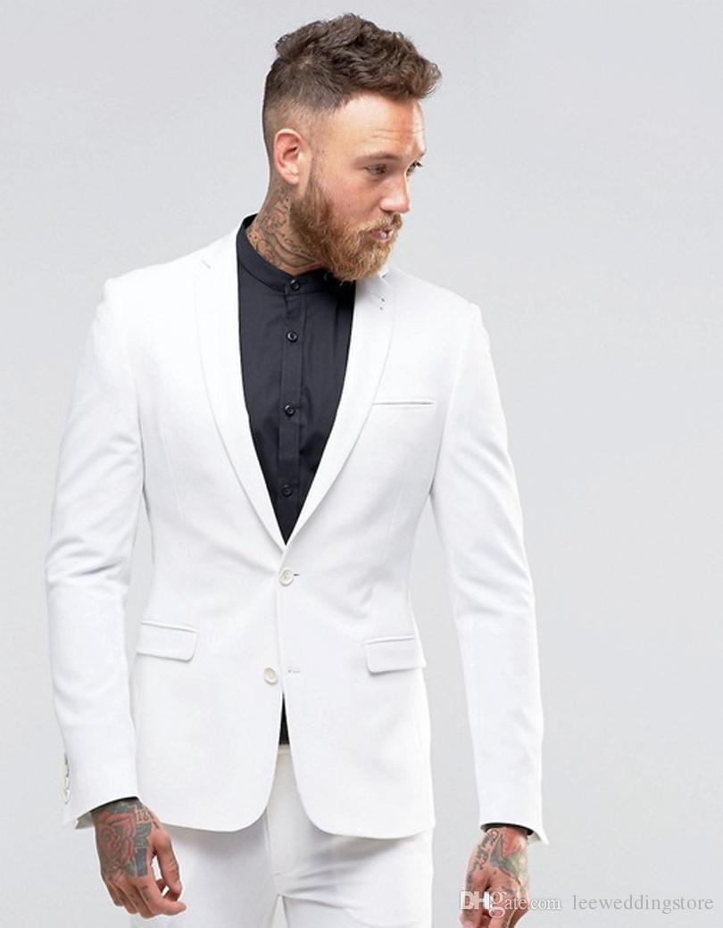New Arrival Man Suits Mens White Groom Tailored Tuxedos Slim fit Groomsmen Suits 2 Buttons Wedding Suits Terno Masculino (Jacket +Pants)