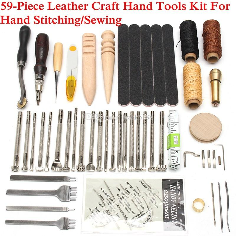 59PCS/lot Leather Craft Hand Tools Kit Thread Awl Waxed Thimble Kit For Hand Stitching Sewing Stamping DIY Tool Set