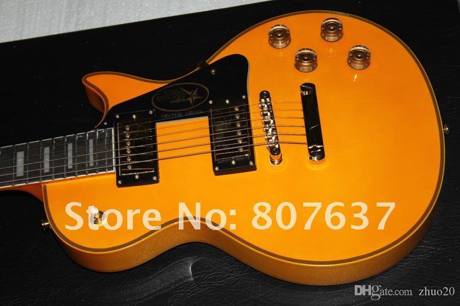Custom shop signature safran jaune 1958 classique Guitare électrique Livraison gratuite