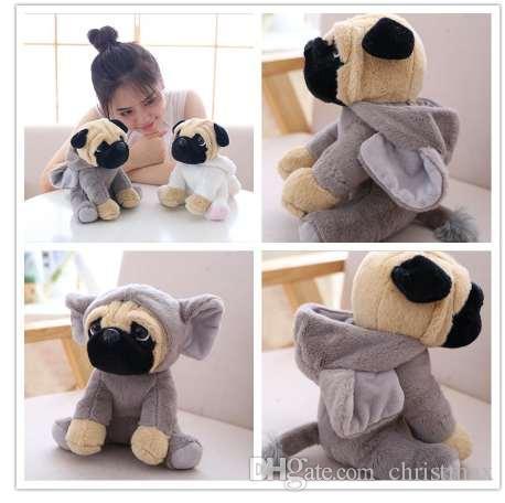 Die SharPei Hund Puppe Plüschtier Hut Hund Puppe Simulation Belldog Mops Kuscheltiere Spielzeug für Kinder Geschenk 20