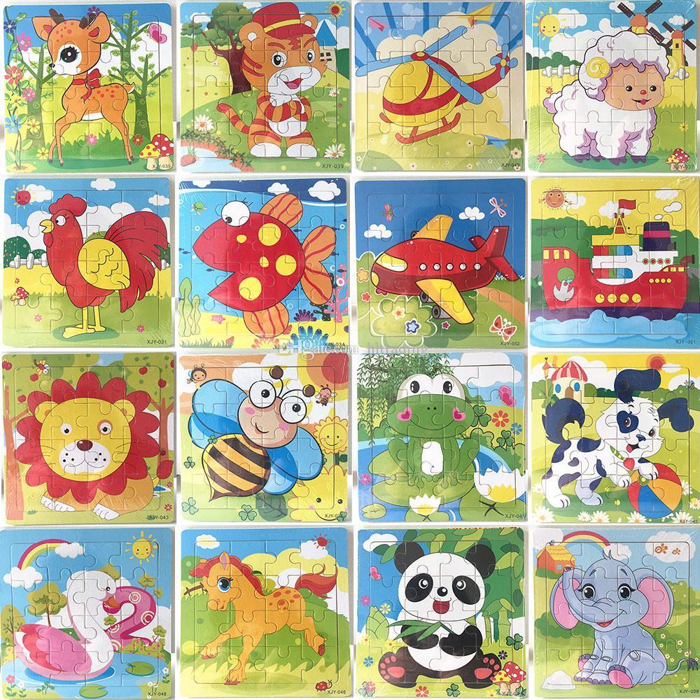 16 قطعة خشبية لغز رياض الأطفال لعب اطفال ورضيع الحيوانات الأطفال الخشب 3D الألغاز الاطفال لبنات البناء مضحك لعبة ألعاب تعليمية C5351