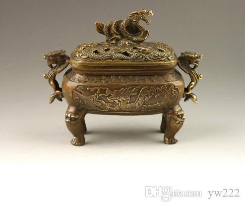 Bruciatore di incenso di bronzo di draghi vividi squisito fatto a mano cinese