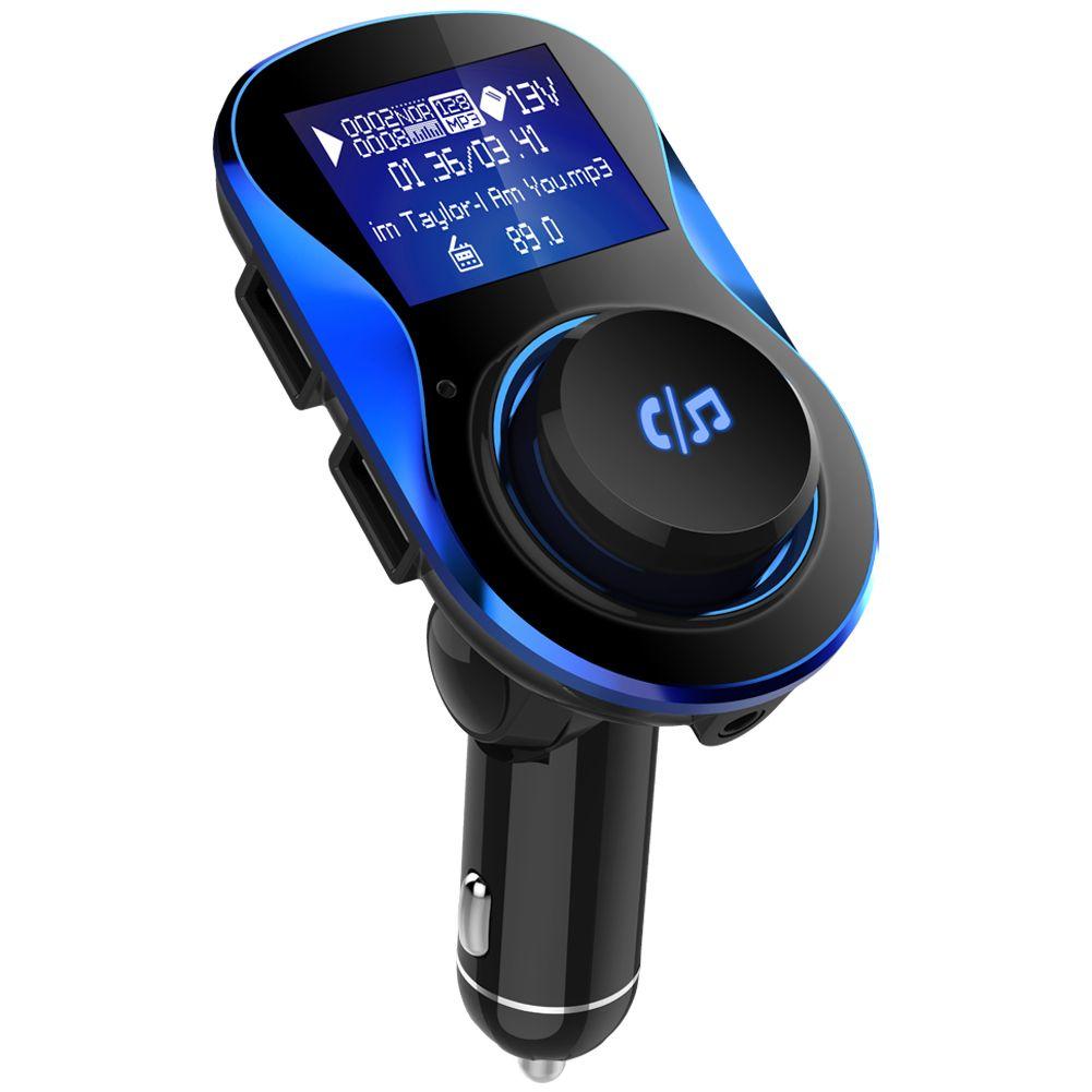 El transmisor de FM inalámbrico para automóvil, el kit de coche de pantalla grande, soporte para navegación móvil y monitor de voltaje con cargador USB rápido para teléfono inteligente