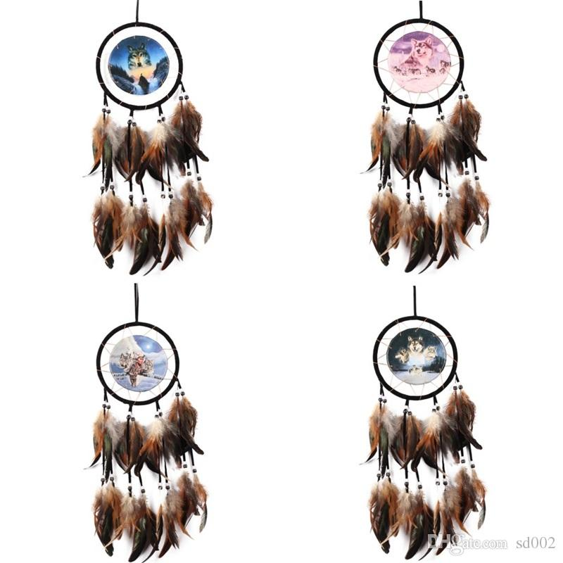Wall Hanging Dream Catcher Oil Painting Wolf Totem Manual Weave Home Furnishing Garden Vehicle Pendant Arts Crafts Gifts 8ms bb