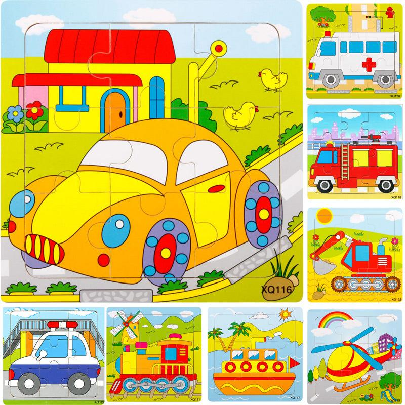5pcs Kids Children Wooden Cartoon Vehicle Transport Traffic Cars Motorbike Helicopter Ship Train 9 Parts Puzzle Toys Mix order Wholesale