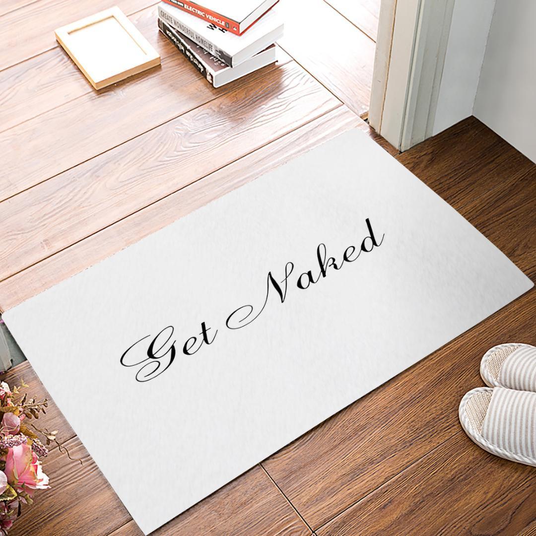 CHARMHOME 간단한 디자인 누드 Doormat 실내 욕실 주방 오신 것을 환영합니다 Doormat 블랙 화이트 문자 플로터 매트