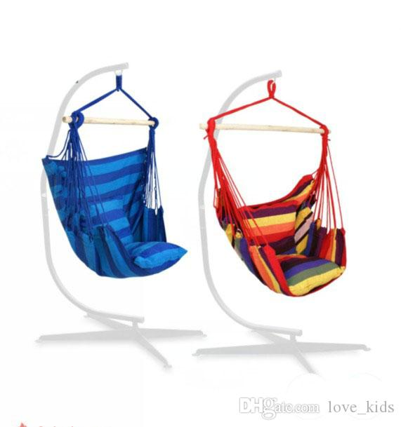 Enjoyable Hanging Rope Chair Hanging Hammock Chair Porch Swing Set With Two Cushions Patio Camping Portable Stripe Chair Stand Is Not Included Rocking Chair Ncnpc Chair Design For Home Ncnpcorg
