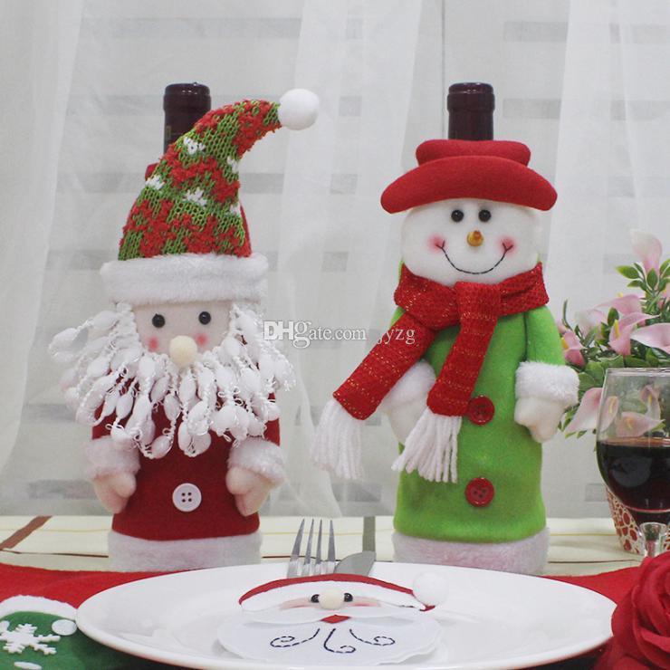 Set de vino de navidad Fundas para botellas Decoración de la fiesta en casa Paño + tela, lana Navidad de Navidad de Navidad de Santa
