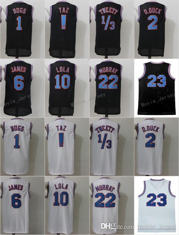 official photos 9c7ec 812af Space Jam Jersey Movie Tune Squad Looney Daffy Duck Bill Murray Lola Bugs  Bunny TAZ Tweety Michael LeBron James Basketball Curry Black White