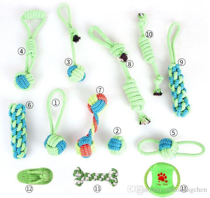 Cuerda de algodón para perros Juguete Nudo del perrito de Chew juguetes para la dentición limpieza de los dientes del animal doméstico Palying Bola Para Pequeño Mediano Grande Perros