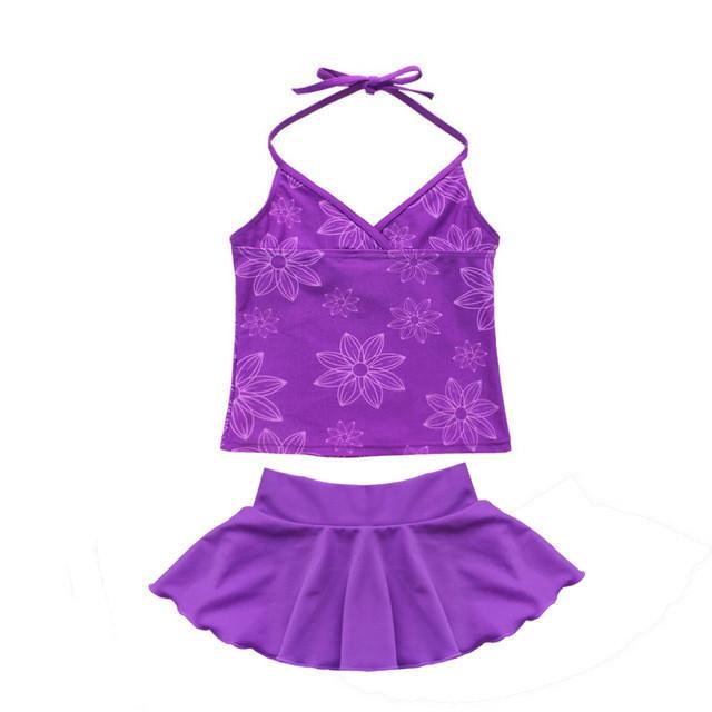 Women Girls Swimsuit Bikini 3PCS Hot Summer Children's Flower Print Swimwear Set Kids with Skirt Underwear for Holiday Trunks Party