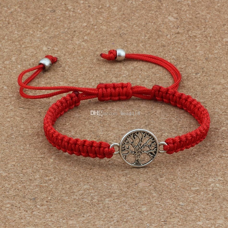 10pcs New men and women fashions Antique silver Alloy Tree of Life charm Red Chinese knot line Pure hand-woven Adjustable Bracelet