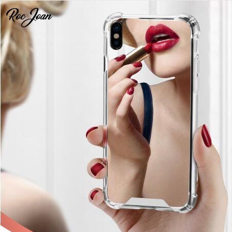 Anti-Knock Ayna Hibrid Makyaj TPU PC Durumda Cep Telefonu Kapak Darbeye Darbeye Için iPhone 12 Mini 11 Pro x XS Max XR 7 8 Artı SE