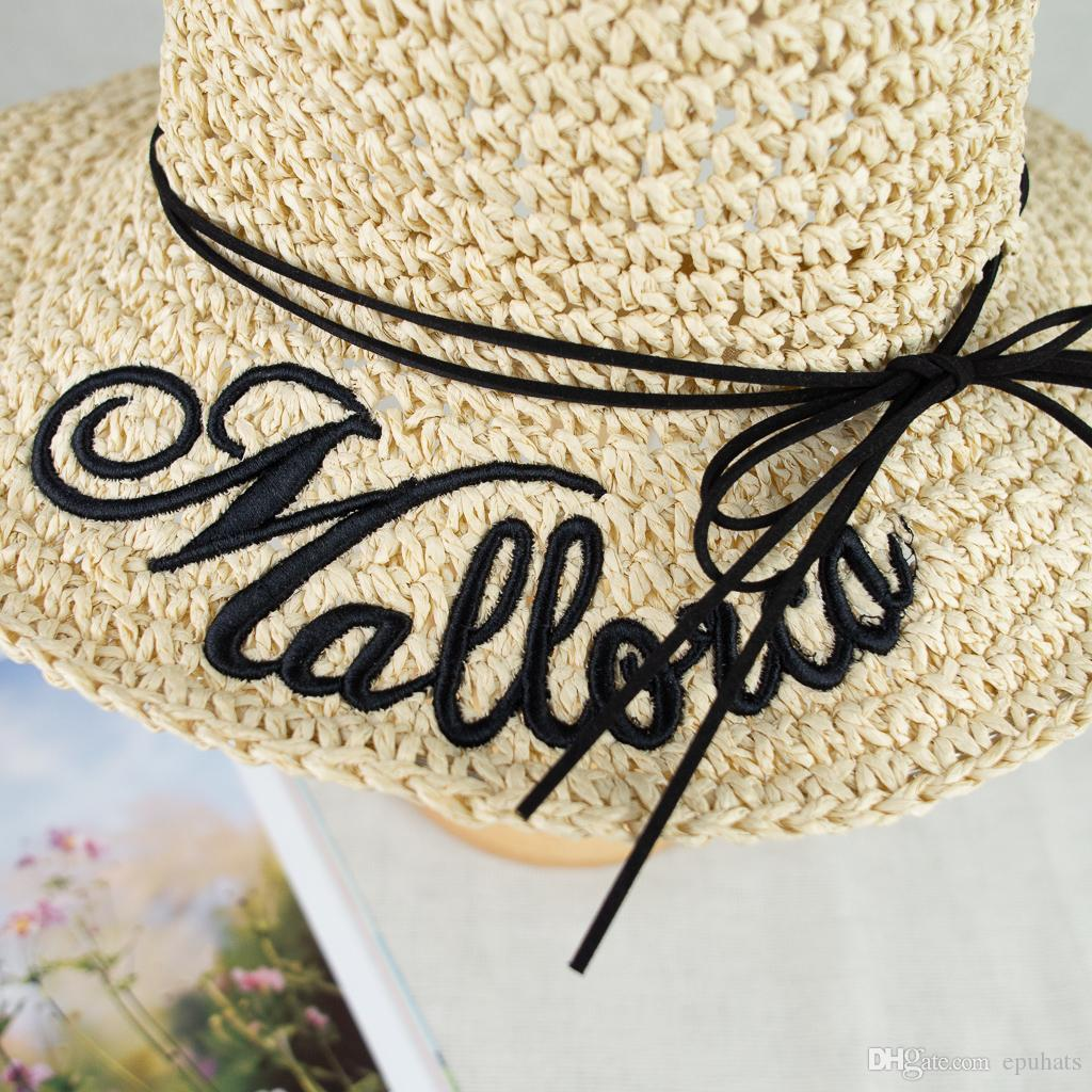 685b54dab 2019 New Hand Crochet Straw Wide Brim Embroidery Floppy Summer Vocation Sun  Protection Hat EPU MH1805 Fedoras Beanie Hats From Epuhats, $60.51  ...