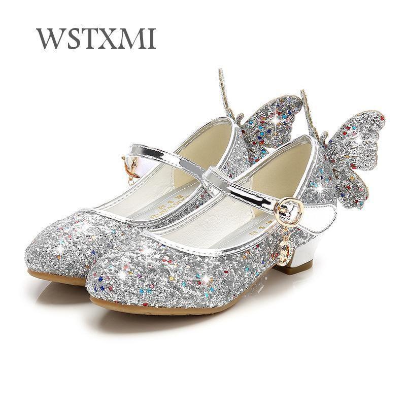 Crianças Sapatos para Meninas de Salto Alto Princesa Sandálias de Moda Infantil Sapatos Glitter Borboleta Meninas De Couro Vestido de Festa de Dança de Casamento Y18110304